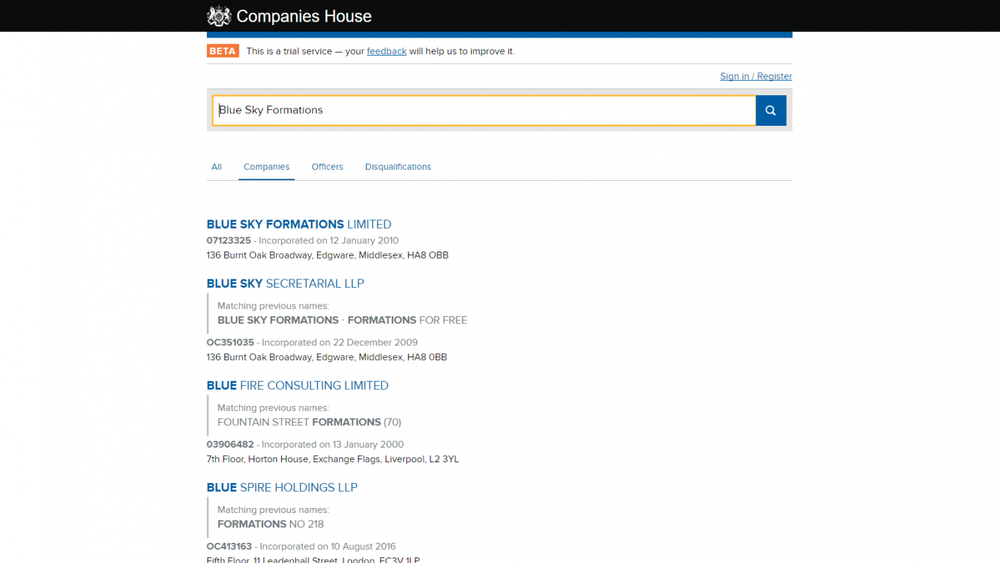 Companies House Name Search